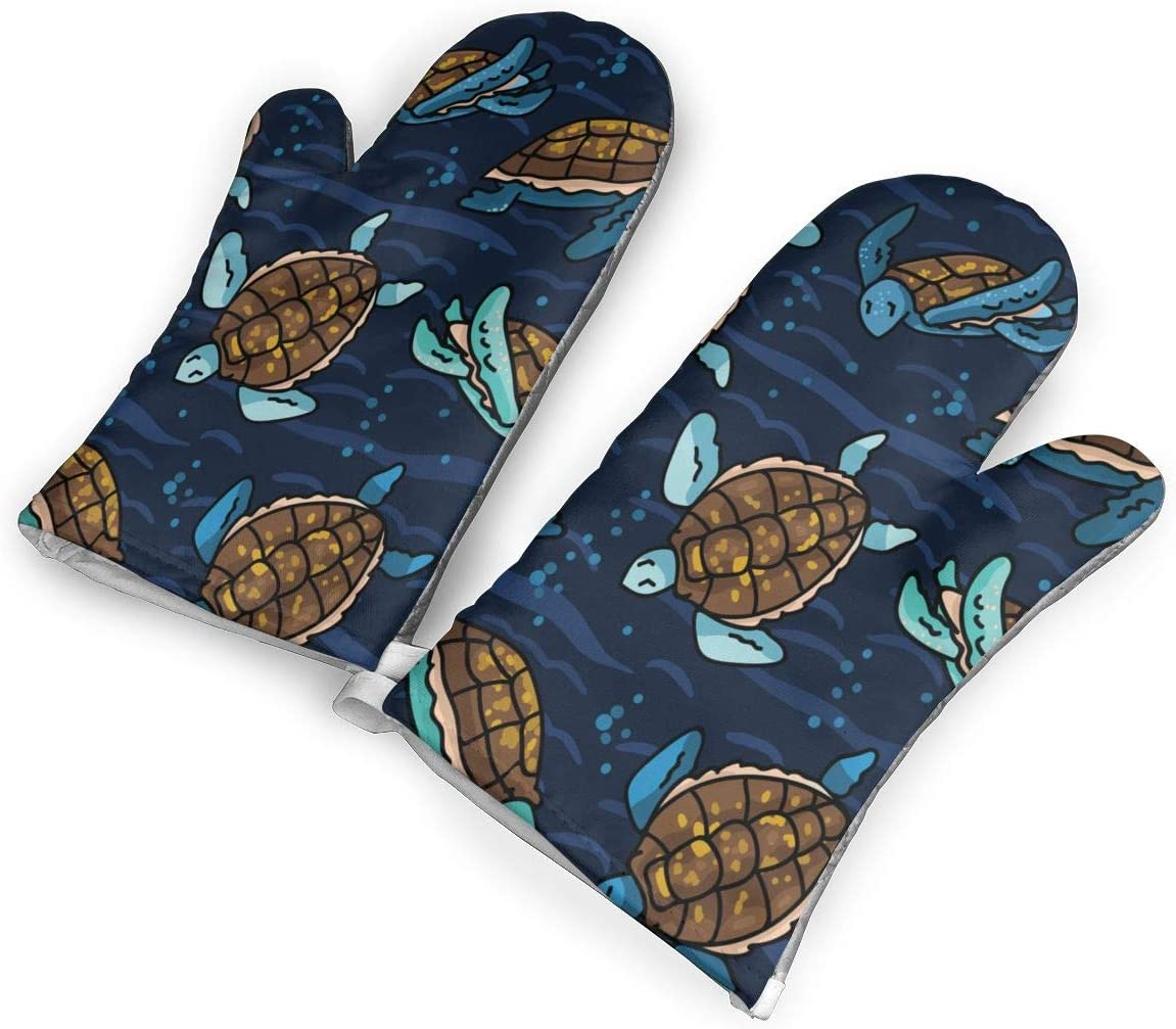TMVFPYR Sea Turtle Oven Mitts, Non-Slip Silicone Oven Mitts, Extra Long Kitchen Mitts, Heat Resistant to 500fahrenheit Degrees Kitchen Oven Gloves