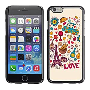 Graphic4You Paris France Eiffel Tower Love Design Hard Case Cover for Apple iPhone 6