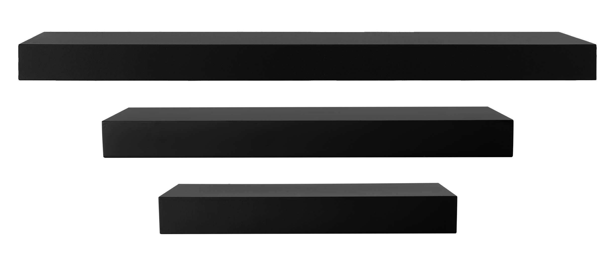 kieragrace FN00372-0 Modern Floating-Shelves, Pack of 3, Black, 3 Count