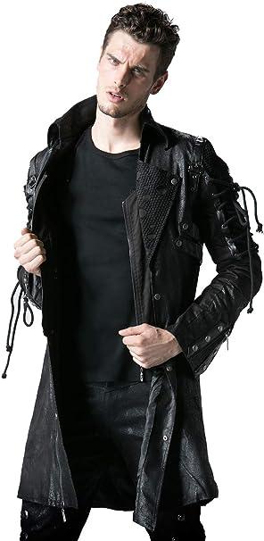 Punk Rave Herren Winter Lange Leder Gothic Trenchcoat Jacke