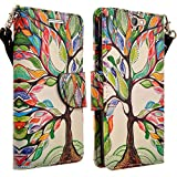 HTC ONE A9 Case, Magnetic Leather Flip Wallet Pouch For HTC ONE A9, Slim Folio Case with Kickstand, 2 Credit Card Slot Wallet Pouch (Colorful Tree)