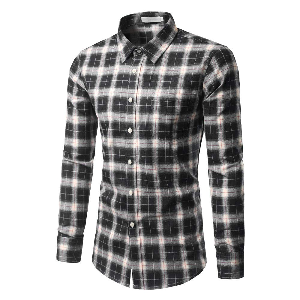 GREFER Men's New Casual And Self-Cultivating Checked Shirt Long Sleeved Checked Shirt Tops Blouse