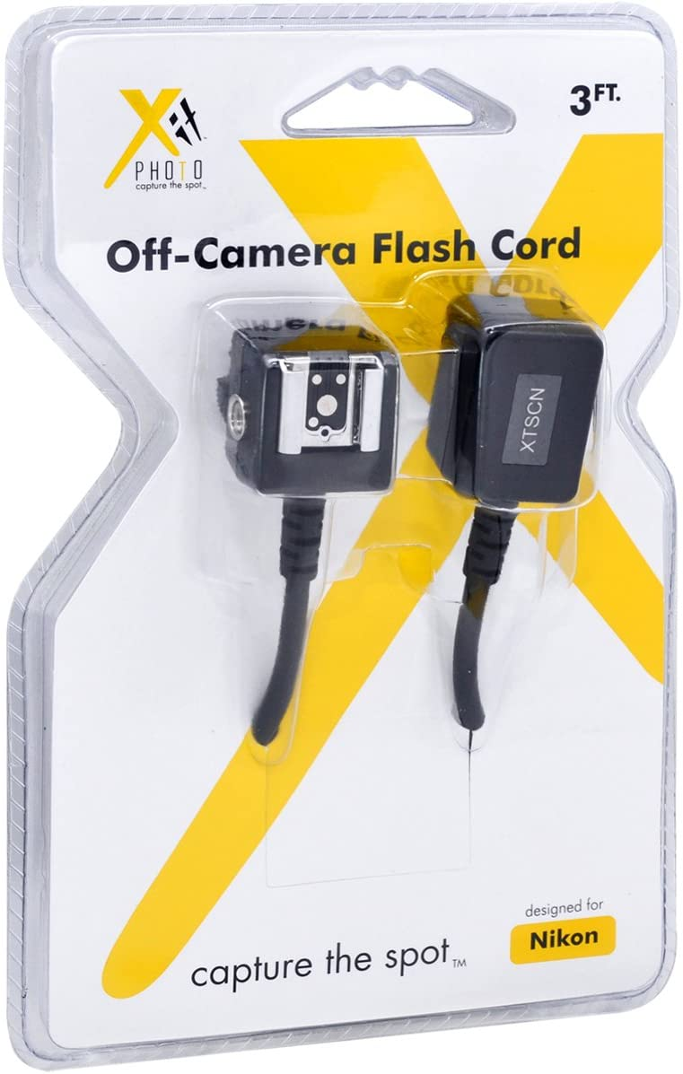 Black Xit XTSCN Heavy Duty Off-Camera Flash Cords that Stretch to 7.5-Feet for Nikon