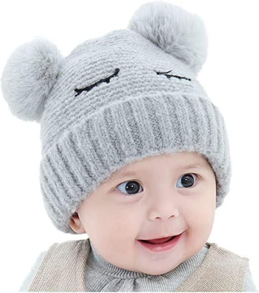 Kids Girl Toddler Baby Boy Pompom Ball Crochet Knit Bobble Bonnet Hat Cap Beanie