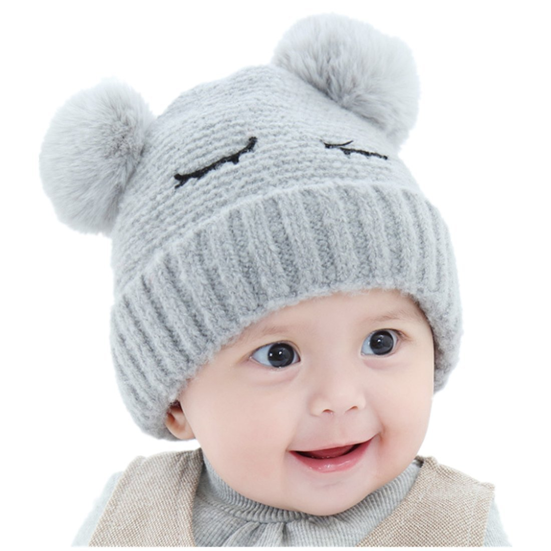 a3170d9187d Amazon.com  zerowin Baby Boys Girls Pompom Hat Props Crochet Knitted Double  Pom Pom Hat Bear Beanie Wool Hat Warm Toddler Hats (Grey)  Clothing