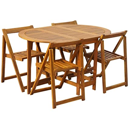 Festnight Conjunto de Muebles para Jardín Plegable 5 Piezas, Conjunto Terraza Exterior Mesa y Sillas de Madera de Acacia, Mesas y Sillas de Jardin