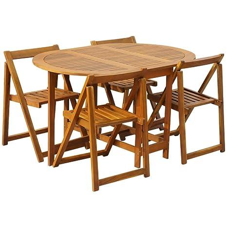 d'Acacia Festnight de Table Balcon 4 ou Jardin Solide de Chaises Salon Pliable Bois pour Jardin et Patio Meuble 1 MVSzpGqU