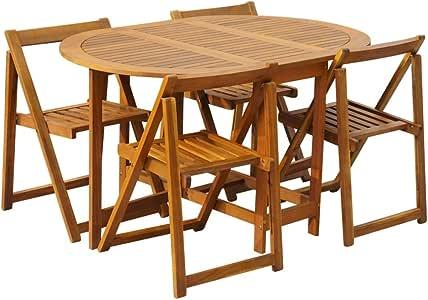 Festnight Conjunto de Muebles para Jardín Plegable 5 Piezas, Conjunto Terraza Exterior Mesa y Sillas de Madera de Acacia, Mesas y Sillas de Jardin: Amazon.es: Hogar