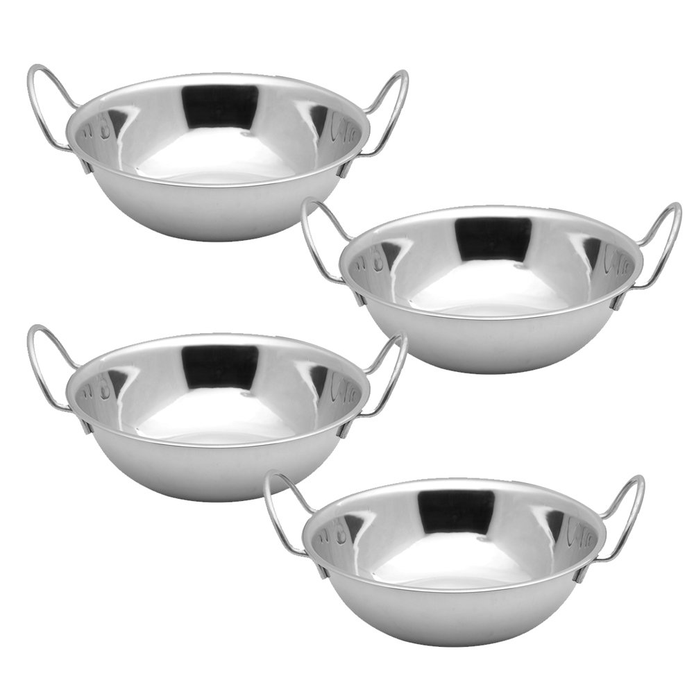 Kosma Set of 4 Premium Stainless Steel Balti Dishes Set, Size 15 cm - Elevated Rim