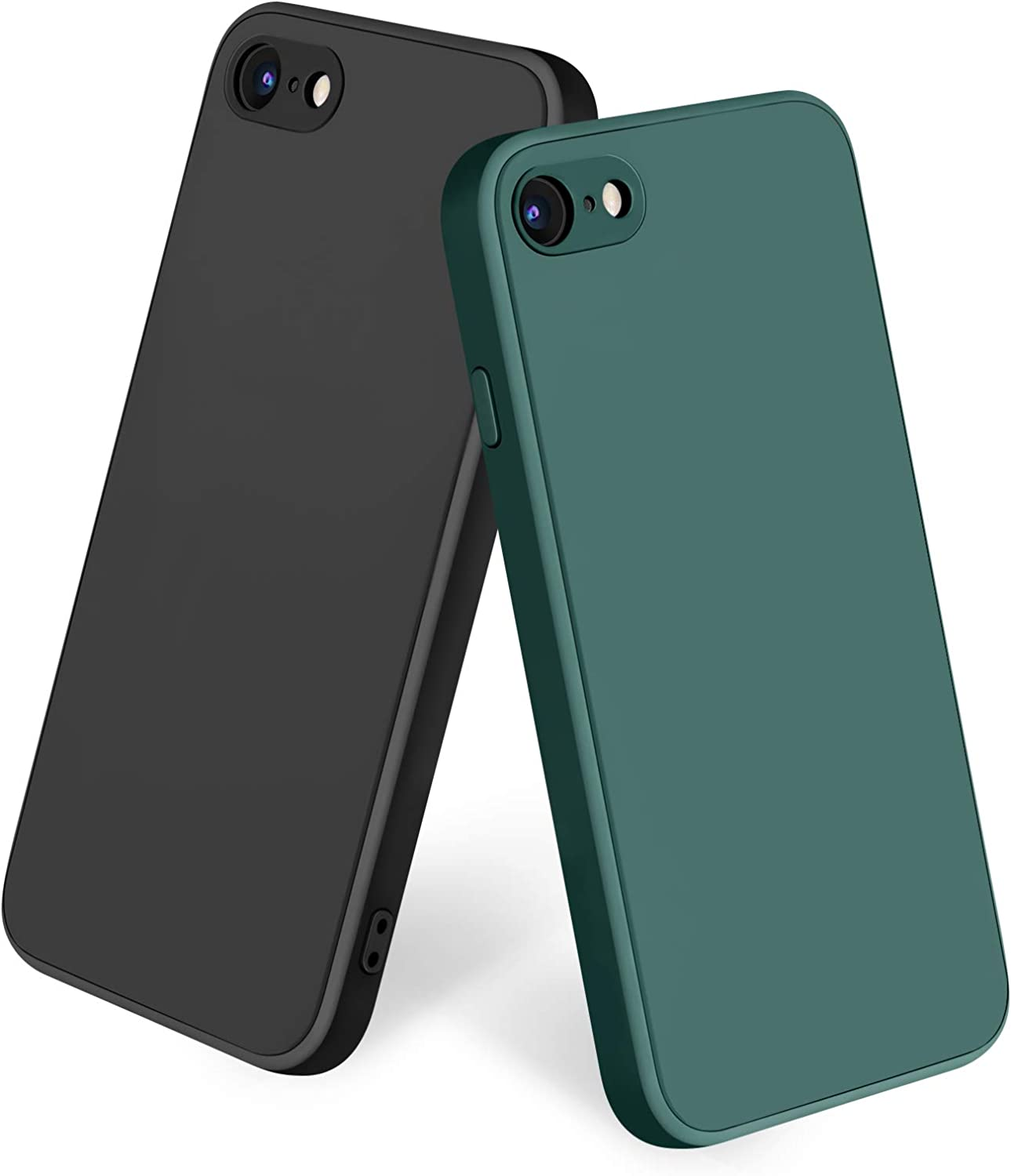 Amzpas [2 Pack] Compatible with iPhone SE 2020 Case, iPhone 8 7 Case Silicone Phone Case, Slim Shockproof Protective Cover Case with [Soft Microfiber Lining] (Black + Midnight Green)