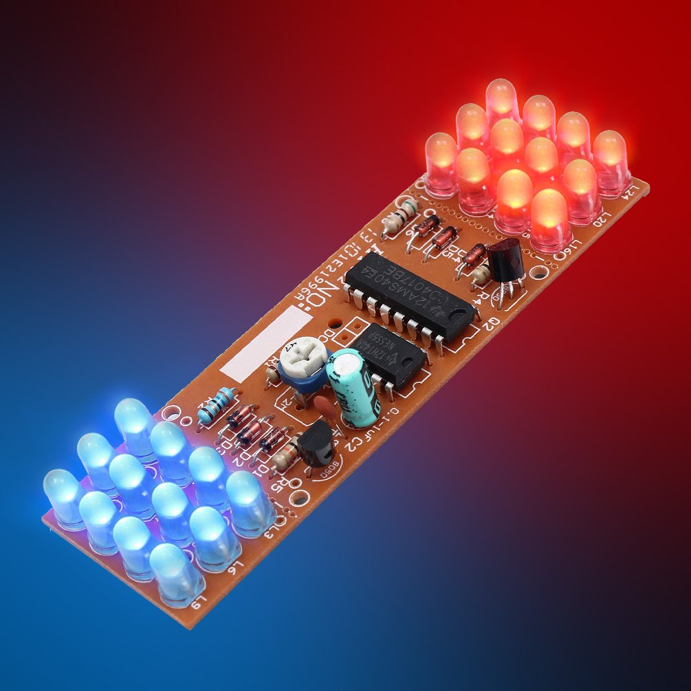 Whdts Red Blue Color Led Flashing Lights Lamp Diy Kits Circuit Electronic Production Project Suite Module Board Ne555 Cd4017 Chip Soldering Kit Toys Games