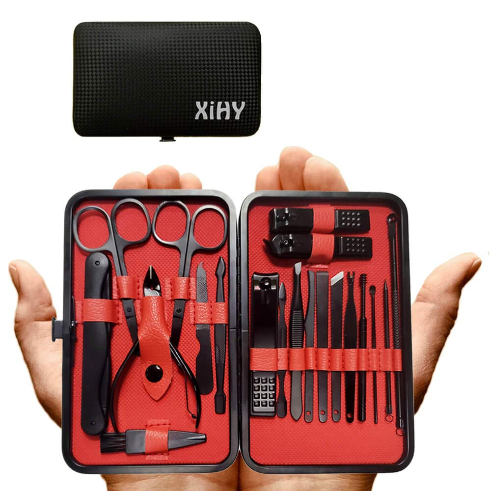 Mens Manicure Set Professional and Pedicure Set Adult 20pieces in 1,Ladies Manicure Kit with Small Leather Case Travel Size,Nail Clippers Grooming Kit for Women & Men's Gift, Stainless Steel,XiHY