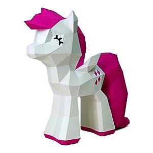 Paperraz DIY 3D Pony Sculpture Puzzle Low Poly PaperCraft Building Kit - NO Scissors Needed