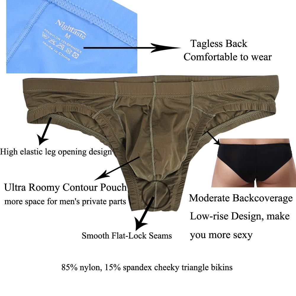 Mens Bulge Pouch Low Rise T-back Briefs Ultra-thin Underpants Bikini Triangle
