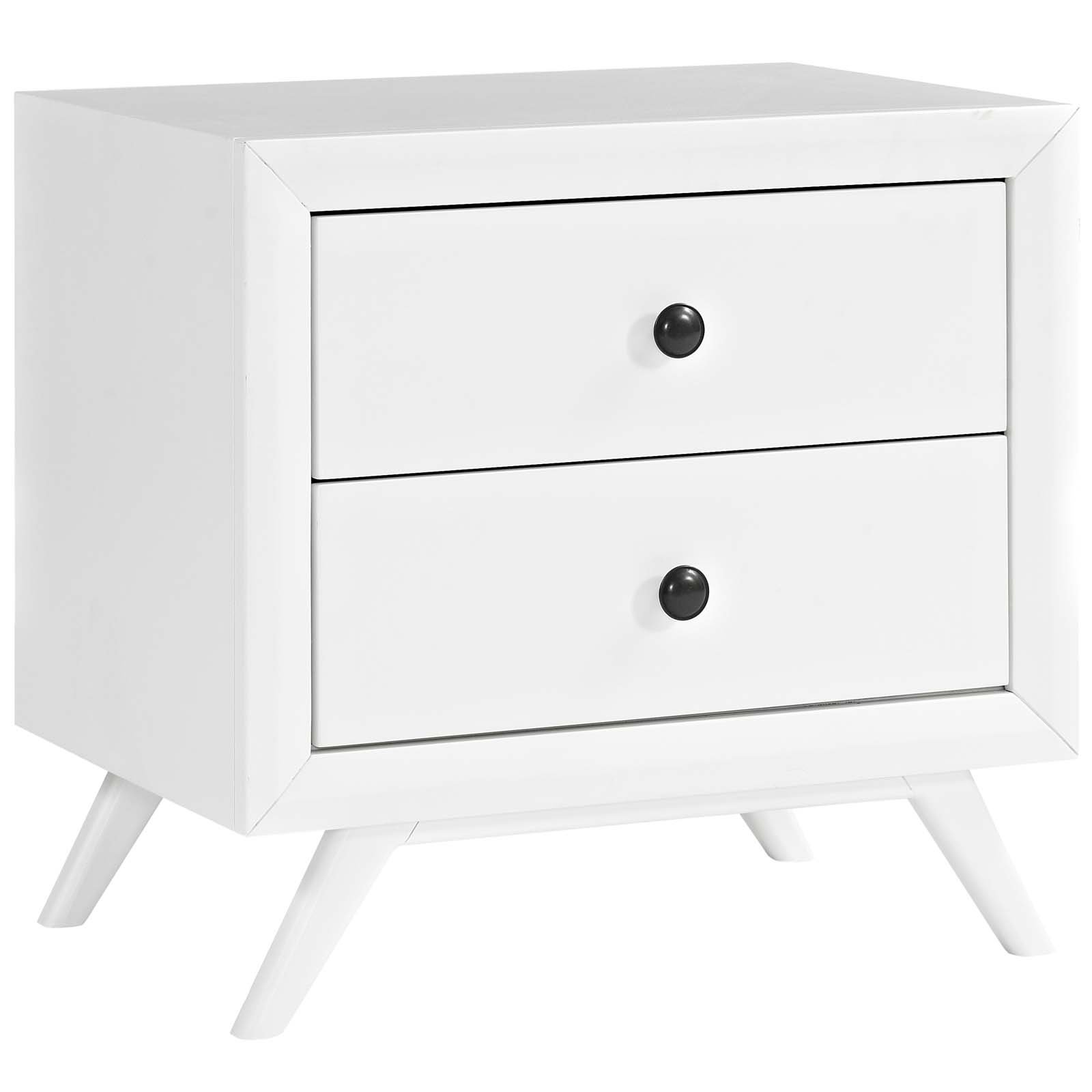 Modway Tracy Mid-Century Modern Wood Nightstand in White