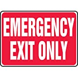 """Accuform Signs MEXT586VP Plastic Safety Sign, Legend """"EMERGENCY EXIT ONLY"""", 7"""" Length x 10"""" Width x 0.055"""" Thickness, White on Red"""