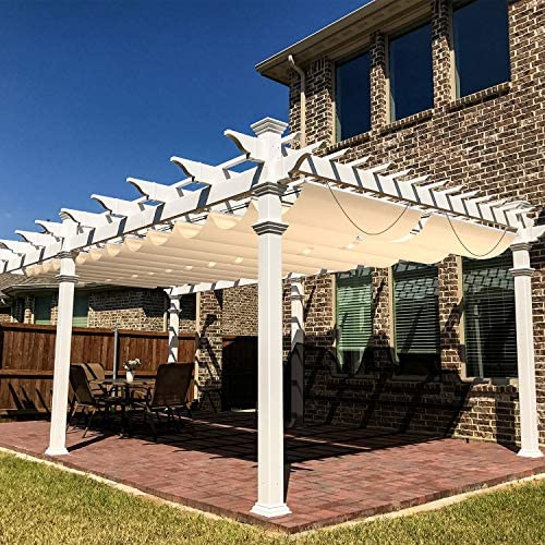 Windscreen4less Outdoor Waterproof Retractable Pergola Replacement Shade Cover Wave Sail Awning Slide on Wire Shade