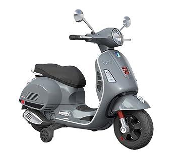 B70592 Moto eléctrica PIAGGIO para niños VESPA GTS con ruedas LED 12V - Gris: Amazon.es: Juguetes y juegos