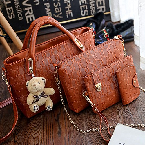 Tote Hobo Leather Top Shoulder FiveloveTwo Large Purse Set Holder Handbag PU 4Pcs Women Handle Yellow Brown Card Satchel Bag PfOCwx