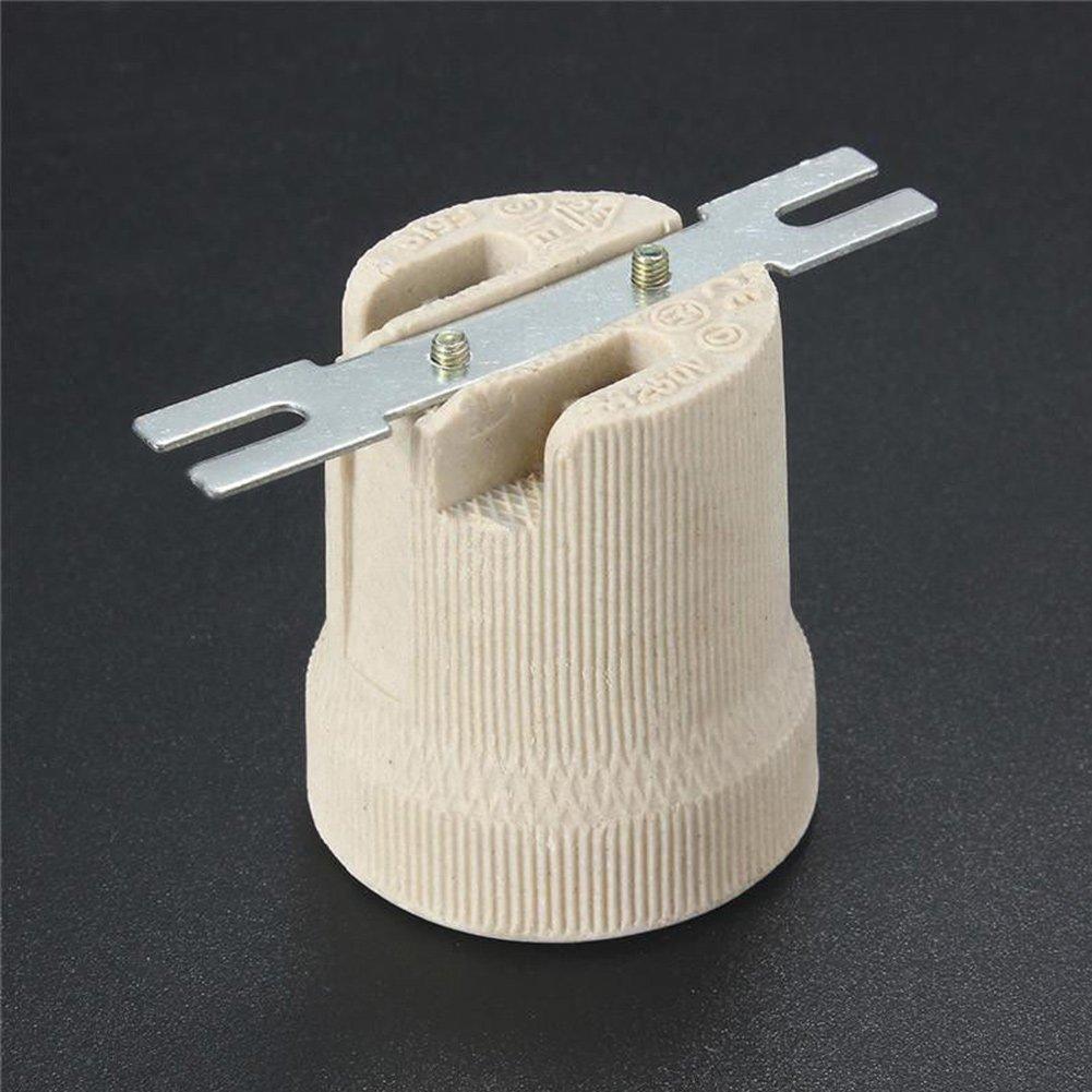 Culot de lampe E27 vintage en céramique Edison - Support de fixation résistant à la chaleur - Grand bouchon à vis, blanc, 220.0V