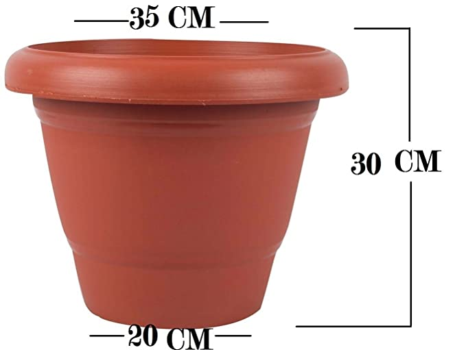First Smart Deal 14 Inch Planter Pot With 11 Inch Tray Pack of 4 - Brown