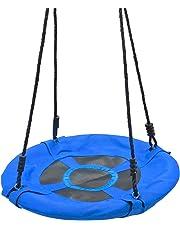Yorbay Upgrade Balançoire nid d'oiseau pour Enfants Rond Bleu foncé Capacité de Charge 100 kg (Diamètre 60 cm)