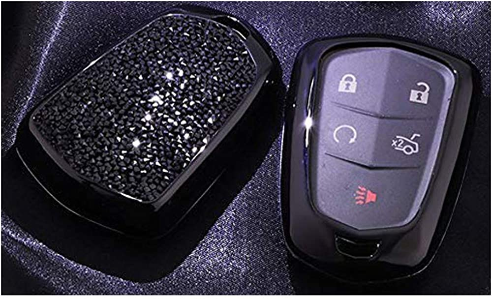 4 5 6 Buttons 3D Bling keyless Entry Remote Smart Key Fob case Cover for 2016-2018 Cadillac CT6, 2017-2018 XT5, 2014-2018 CTS, 2015-2018 XTS SRX ATS Accessories Black