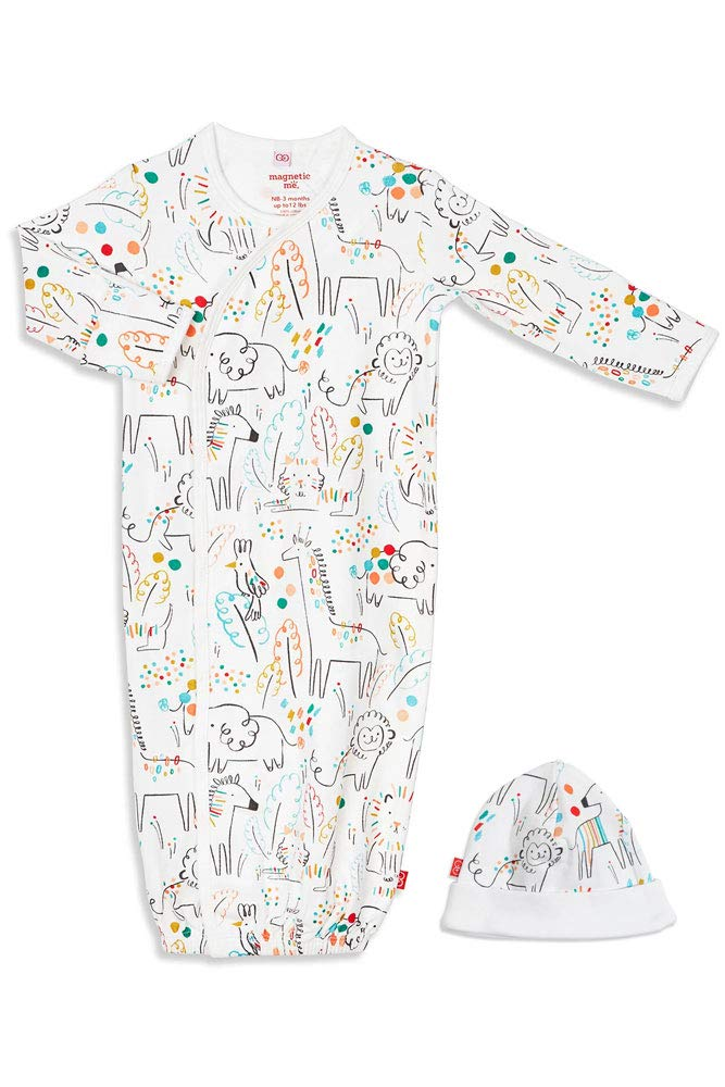 Magnetic Me by Magnificent Baby 100% Organic Cotton Gown & Hat Set, Newborn to 3 Months by Magnetic Me