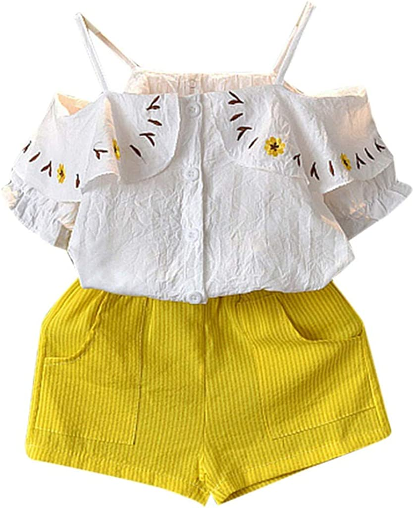 1-6Years,SO-buts Children Girls Summer Clothes Short Sleeve Suspender Flower Print Tops+Shorts Set Outfit