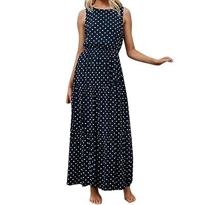 H+K+L Women Polka Dot Print Round Neck Sleeveless Boho Long Maxi Party Dresses at Women's Clothing store