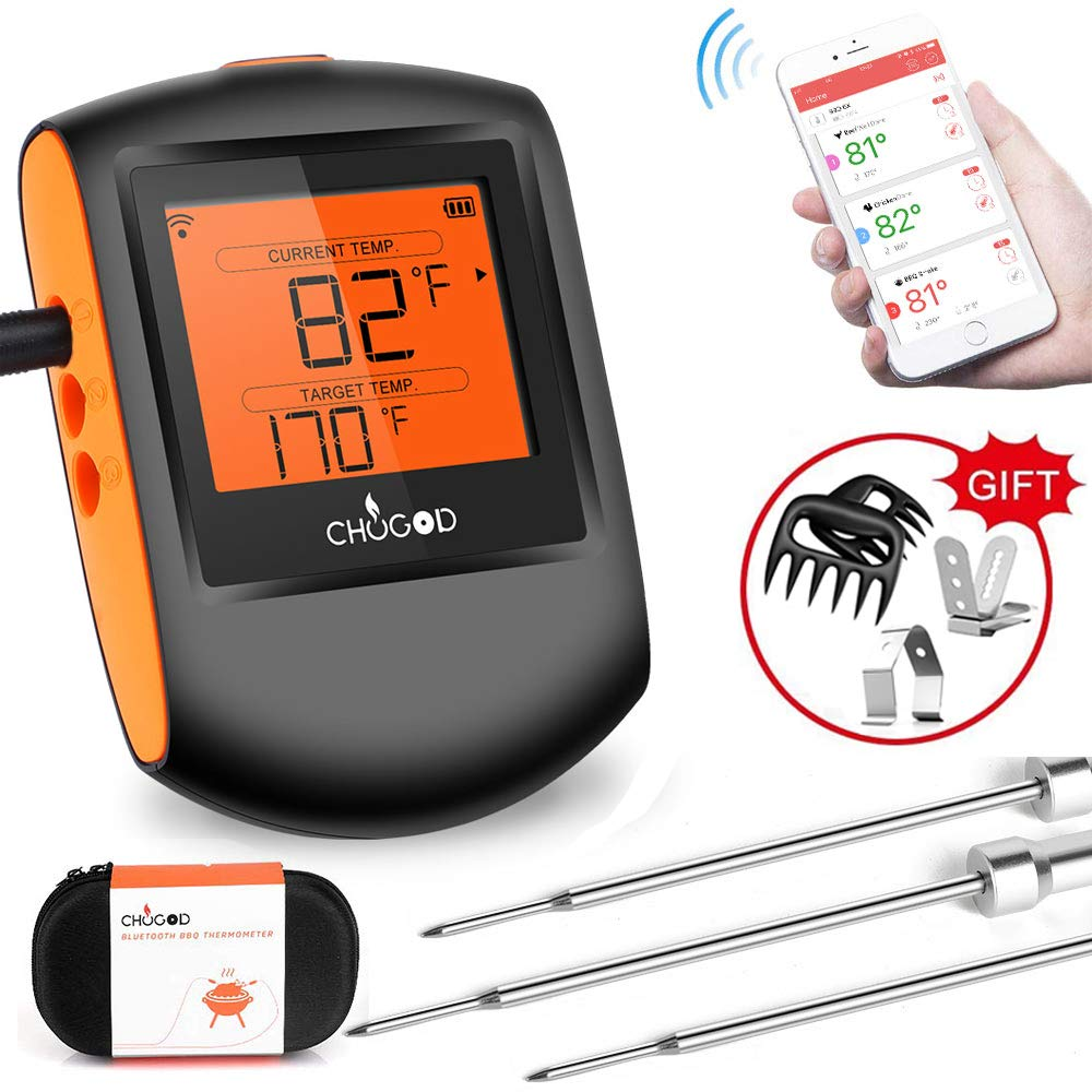 Meat Thermometer Bluetooth - CHUGOD BBQ Cooking Thermometer Wireless Remote Digital Cooking Food MeatThermometer with 3 Probes for Smoker Grilling Oven Kitchen(Carrying Case Included) by Chugod
