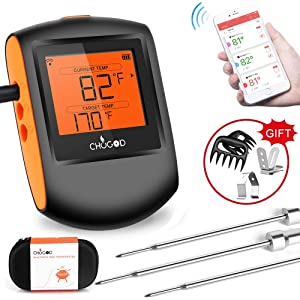 Meat Thermometer Bluetooth - CHUGOD BBQ Cooking Thermometer Wireless Remote Digital Cooking Food MeatThermometer with 3 Probes for Smoker Grilling Oven Kitchen(Carrying Case Included)