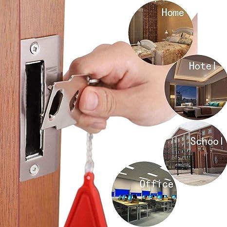 EKUPUZ Portable Door Lock Travel Lock Security Door Lock,for Hotel Room Door Anti-Theft Lock Travel Door Lock Suitable for School Family Hotel Door Security Equipment