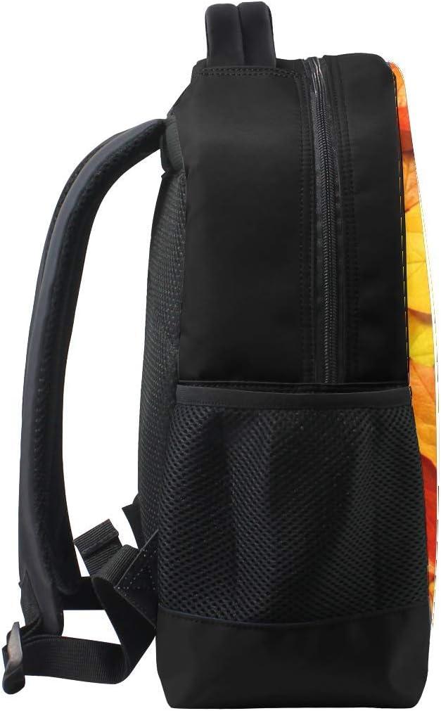 Leaves Orange Autumn Surface Bookbag School Backpack Luggage Travel Sport Bag