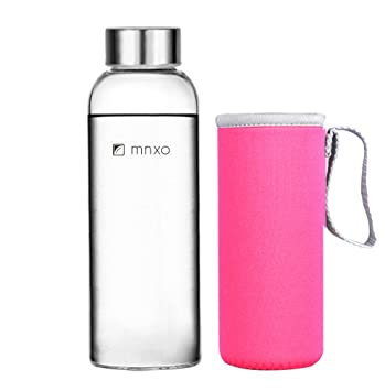 55d16472ca Mnxo® Ultra Clear Borosilicate Glass Water Bottle with Sleeve for Office &  Car & Bicycle