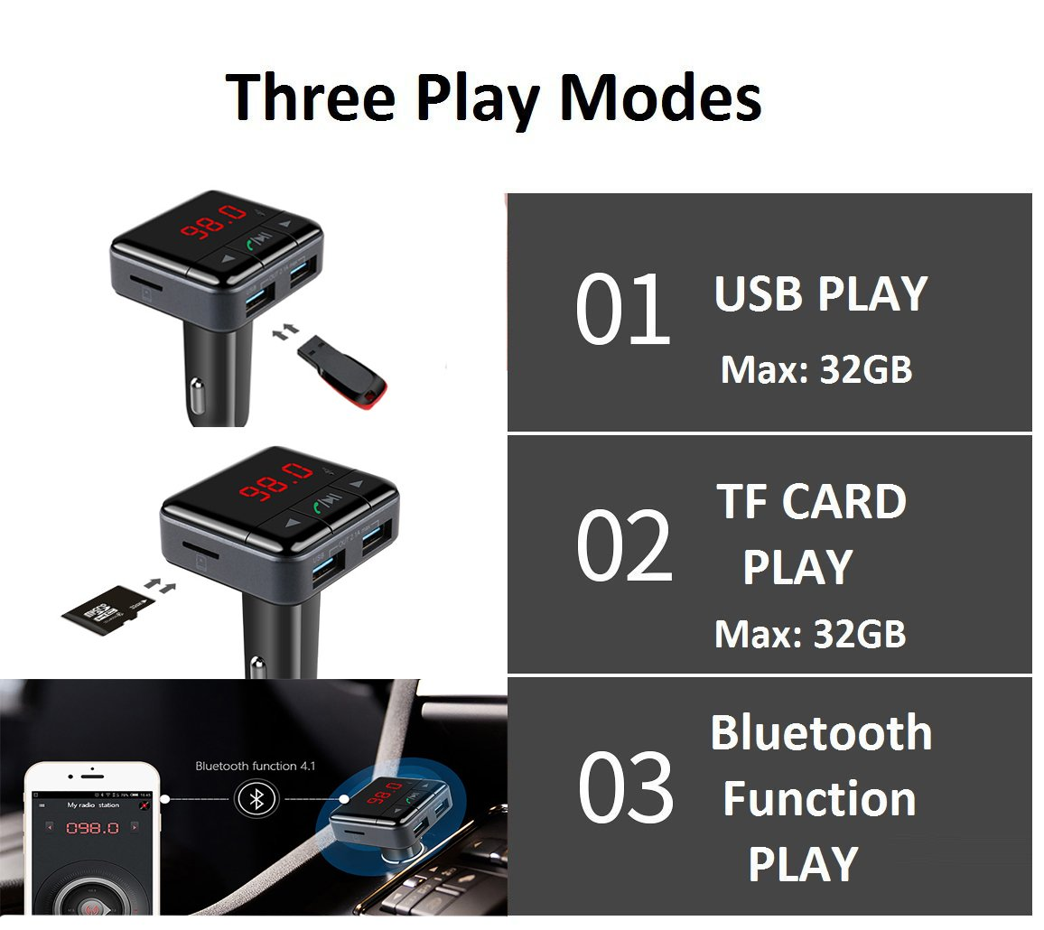 iPod Support Phone App Control for iPhone MP3 MP4,ect iPad Samsung KOMRT Bluetooth FM Transmitter Bluetooth Car Charger MP3 Player with Dual USB Ports Charger LED Display Hands-Free Call KBC-003BK