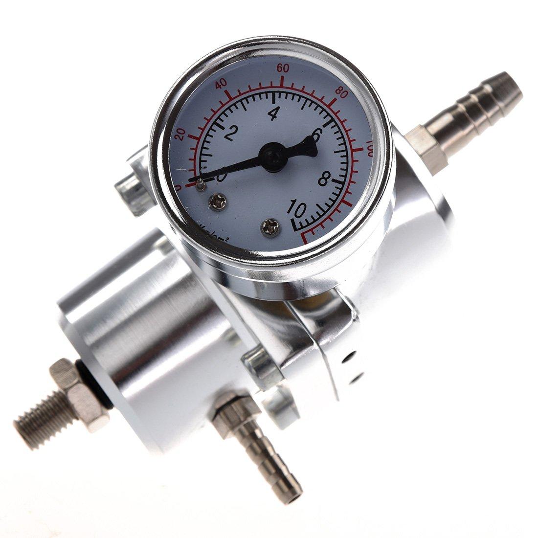 SODIAL(R) Universal Car Fuel regolabile regolatore di pressione con manometro Argento