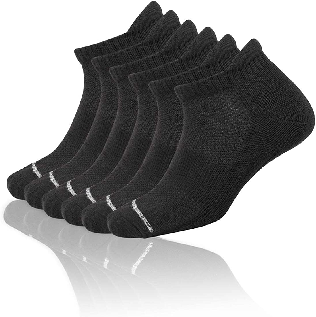 6 Pairs Mens Cushioned Breathable Running Sports Athletic Crew//Low Cut Ankle With Tab Socks