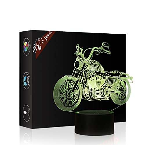 Motorbike 3D Xmas Decoration Illusion Night Lamp Beside Table Jawell 7 Color Changing Touch