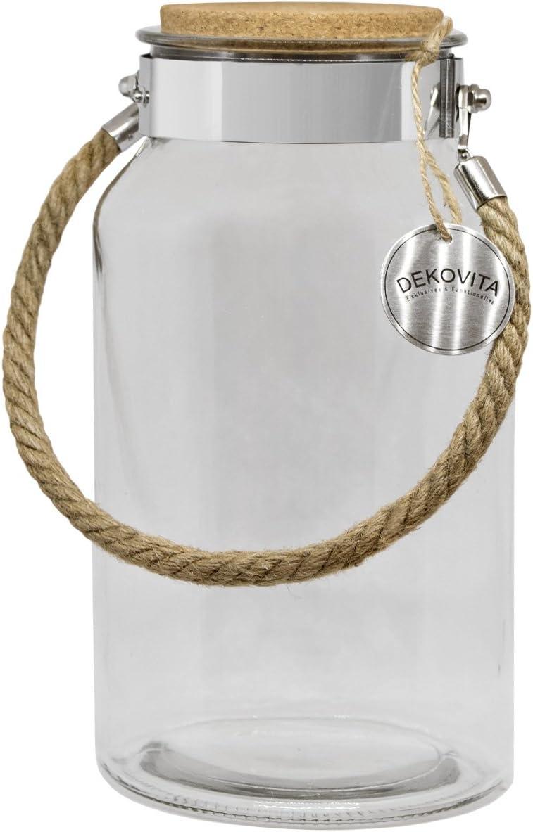 DEKOVITA Frasco de Almacenamiento 5l a:30/d:16/a: 10,6cm Linterna de jardín Tapa de Corcho Frasco de Cristal Vidrio Decorativo Linterna jarrón