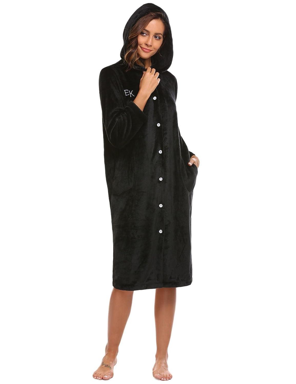 5d28463291 Hufcor Women s Hooded Long Robe Soft Fleece Plush Sleeping Bathrobes(S-XXL)