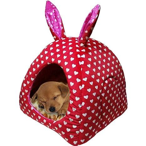 Sannysis Perros Gato Cueva Caseta Perro Cama Gato Cama Perros Casa Mascotas Cojín extraíble para pequeñas