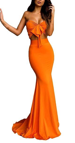 BoBoLily Mujer Faldas Largas+Crop Top 2 Pedazos Ceremonia Elegante ...
