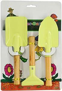 Kids Gardening Tools, 3 Pieces 8'' Metal Garden Tool Set for Toddlers Boys Girls Yard Work, Rake, Shovel & Trowel