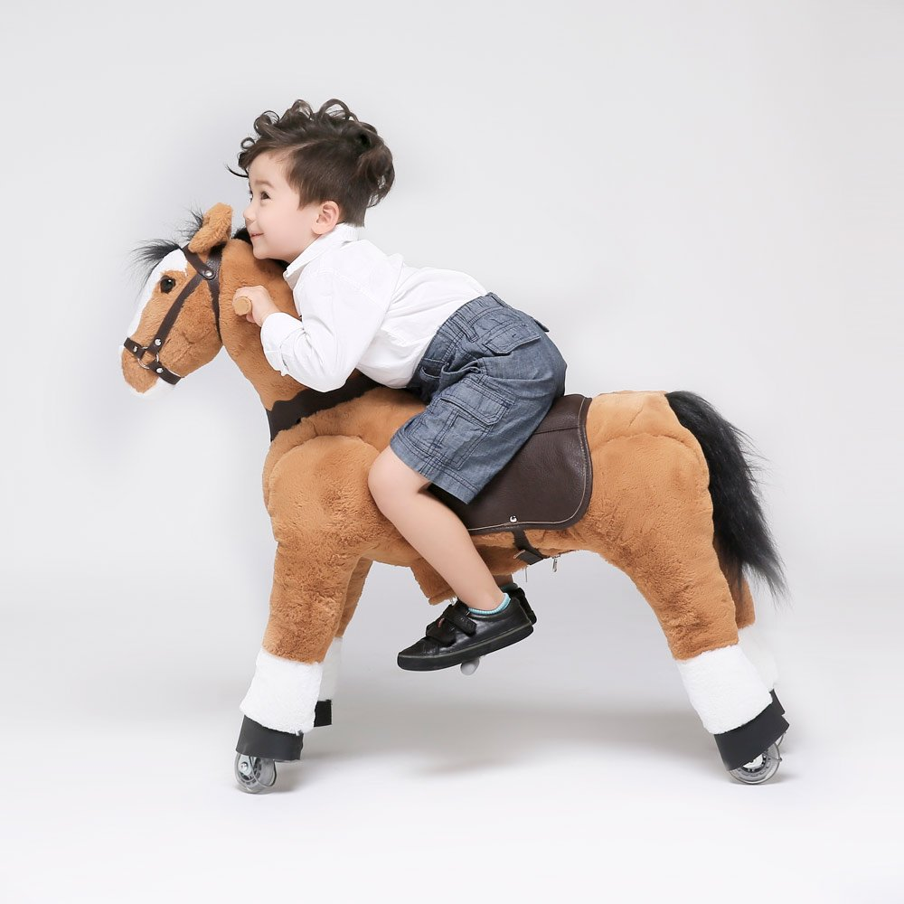 UFREE Horse Action Pony, Ride on Toy, Mechanical Moving Horse, Giddyup for Children 3 to 9 Years Old, Height 36 Inch, Black Mane and Tail