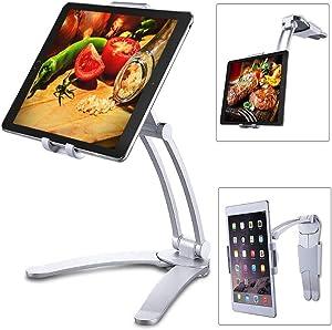 """2-in-1 Kitchen Tablet Stand Wall Mount Adjustable Under Cabinet Holder Desktop Mount for 5-10.5"""" Tablets and Mobile Phones."""
