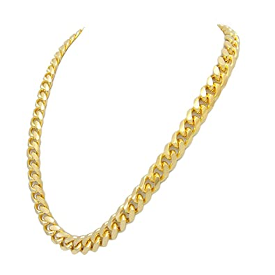 CrazyPiercing 24Inch Faux Gold Plated Men Chain Necklace Figaro Punk