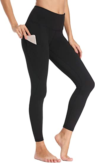 Womens Fleece Lined Leggings High Waisted Winter Running Tights Thermal Pocketed Leggings