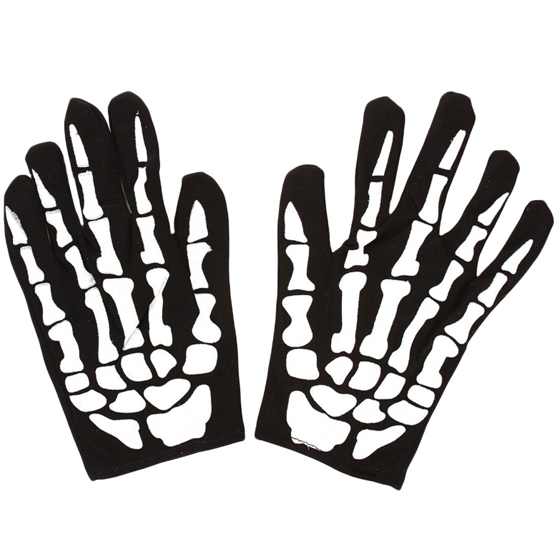 Halloween Skeleton Print Thinsulate Goth Racing Full Finger Magic Stretch Gloves White Adopting Fu Toys