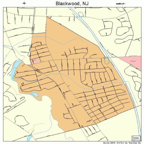 Large Street & Road Map of Blackwood, New Jersey NJ - Printed poster size wall atlas of your home town